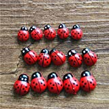 sea-junop 50 Pcs Fairy Garden Bonsai Ornaments Landscape Decor Wooden Ladybugs-Red