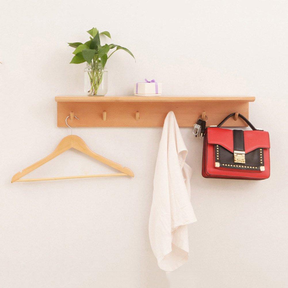 LIANGJUN スカーフ ウォールハンガー フック 無垢材 リビングルーム エントランス 寝室 棚で、 3サイズあり、 2色展開 ( 色 : Brown-85X18X12cm ) B07BH136CL Brown-85X18X12cm Brown-85X18X12cm