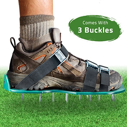 Lawn Aerator Spike Shoes - For Effectively Aerating Lawn Soil - Comes with 3 Adjustable Straps with Metallic Buckles - Universal Size that Fits all - For a Greener and Healthier Garden or Yard.