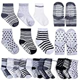 Cren 6 Pairs Assorted Non Skid Ankle Cotton Socks Baby Walker Anti Slip Stretch Knit Stripes Footies Sneakers Crew Socks With Grip For 16-36 Months Boys Girls Toddler For Sale