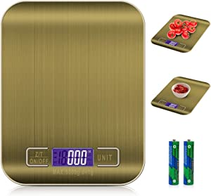 Ultra-thin blue light kitchen scale,Backlight Display,Electronic Stainless Steel Weighing Cooking Scales,11lb/5kg ,Gold(Two free batteries)