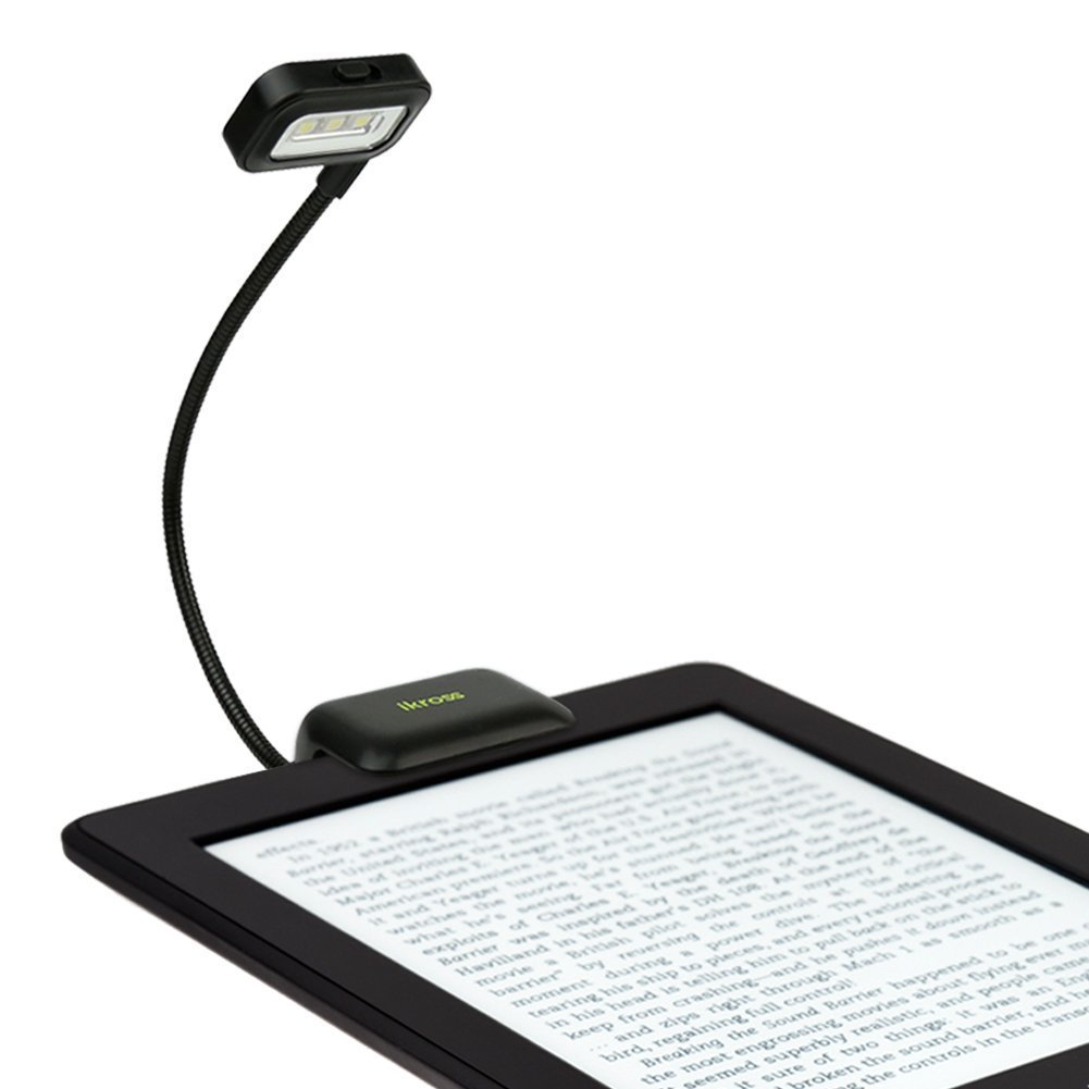 iKross Black Dual LED Clip-On Reading Light for Nook, eBook Readers, Tablet, Book, Textbook and more