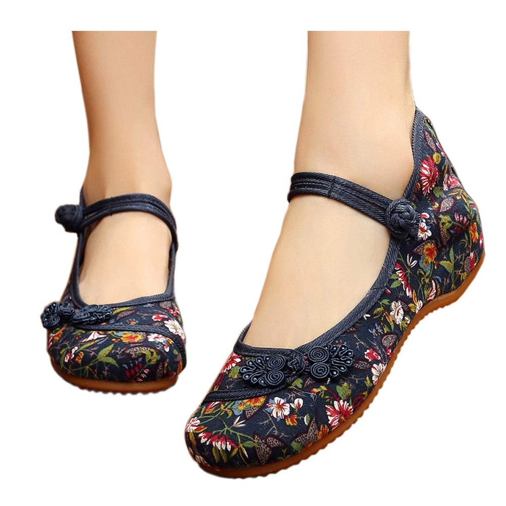 Small Fowers Stamp Mary Jane Canvas Women Chinese Knotting Shoes Casual Flats Soft Sole Shoes Blue 9 B(M) US