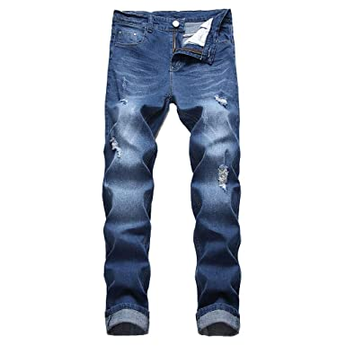 9c957f0bff3f NUWFOR Men's Stretchy Ripped Skinny Biker Jeans Destroyed Taped Slim Fit Denim  Pants(Blue,