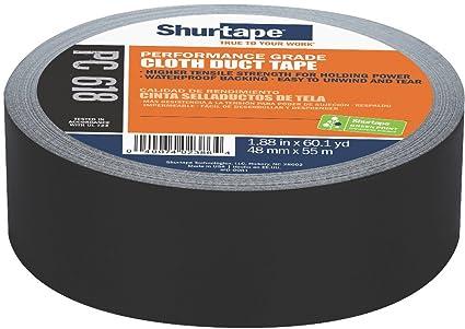 48mm x 55m Colored Cloth Duct Tape 1 Black Shurtape PC 618 Performance Grade