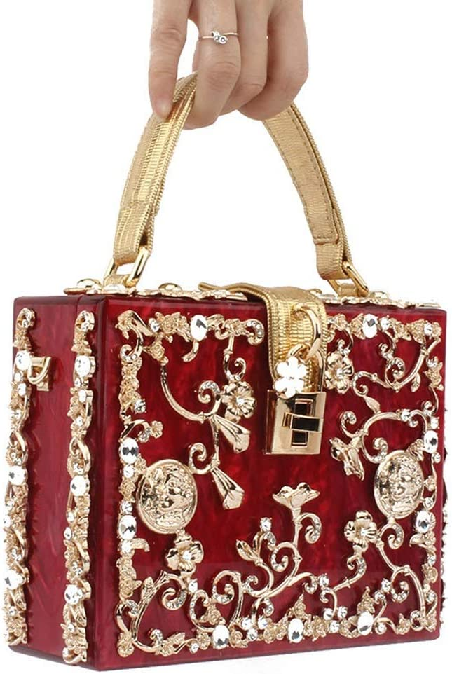 DDSS Shoulder Bags Creative Vintage Luxury Openwork Diamond Engraved Wedding Dinner Crossbody Shoulder Handle Square Bag Color : Wine red Acrylic//Alloy Flower 7 Colors Available //-//