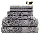 Sweet Needle Daily Use 6 Piece Towel Set Charcoal, 100% Ringspun Cotton & Absorbent, Rayon Trim - 2 Oversized Large Bath Towels 70x140, 2 Hand Towels 50x90, 2 Wash Cloths 30x30 CM