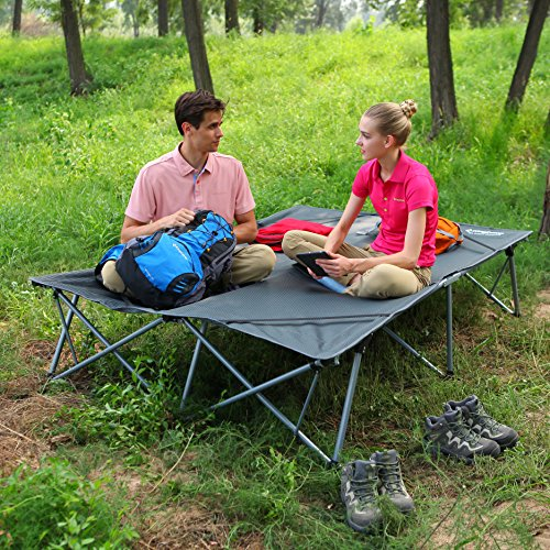 KingCamp Camping Cot Double 2 Person Oversized Anodized Steel Frame Portable Folding Bed Portable with Wheeled Carry Bag by KingCamp (Image #5)