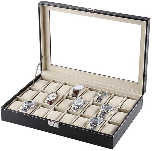 GOVD Caja Relojes Hombre para 24 de Relojes Organizador de Relojes ...