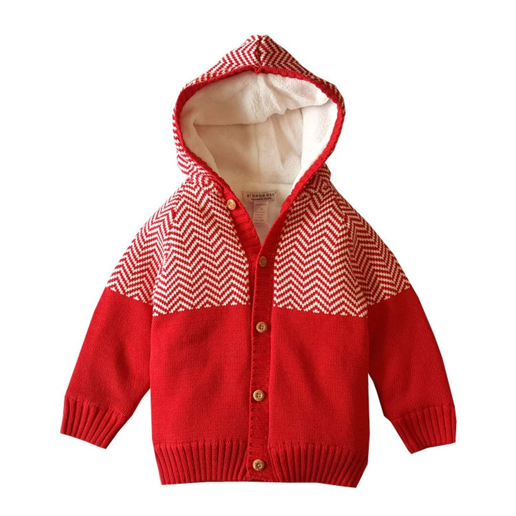 Toddler Infant Baby Boy Girl Warm Knitted Hooded Thick Tops Boutique Sweater Outfit Coat Little Kid Jacket (18-24 Months, Red) by Drindf Baby Clothes