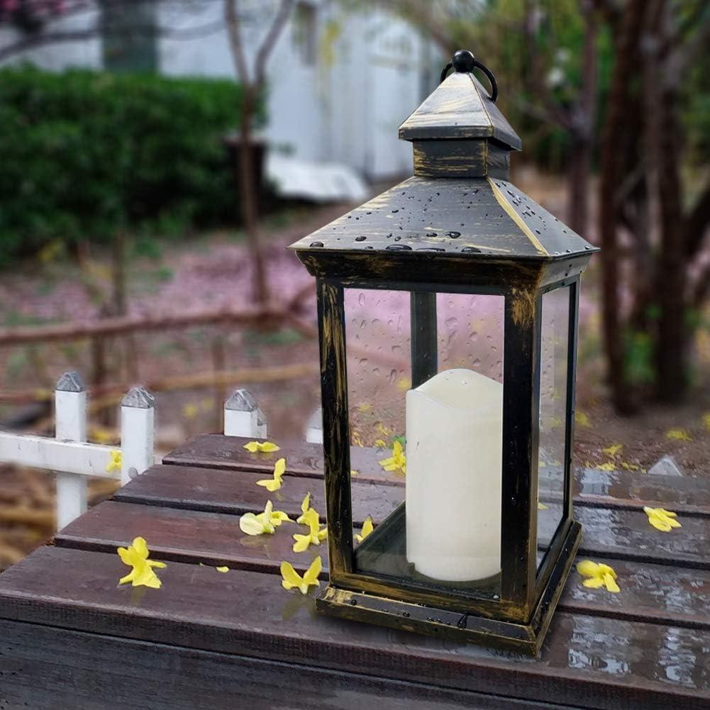 Tall vintage decorative lantern with led pillar candle