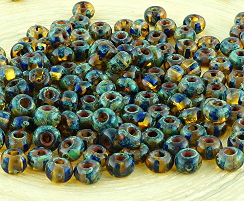 (Anissa Picasso Crystal Yellow Blue Striped Rustic Earthy Tribal Round 3/0 Czech Glass Large Hole Seed Beads Spacer 20g)