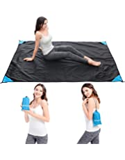 Backever Picnic Blanket, Portable 200cm x 150cm Beach Blanket Lightweight Waterproof Sandproof Pocket Camping Mat with Carabiner Tent Pegs Carrying Bag Large Size Picnic Mat for Outdoor Travel