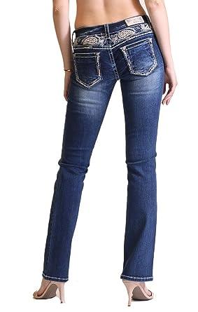 0756edc9fd Grace in LA Paisley Yoke Easy Fit Floral Embellished Dark Wash Boot Cut  Jeans w/