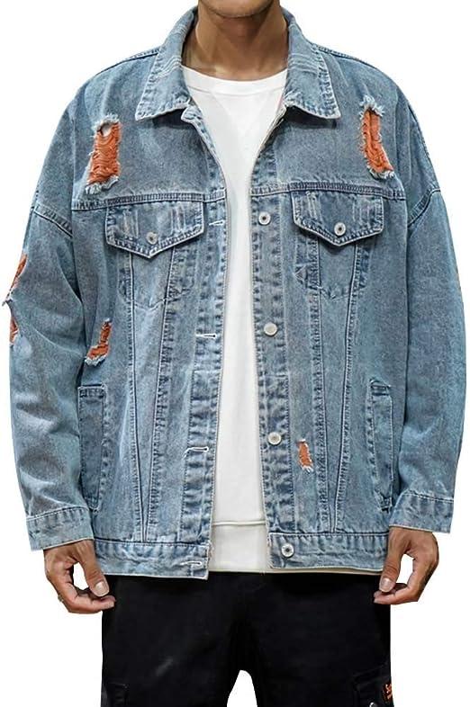 デニムジャケット メンズ 折り襟 ヒゲ ダメージ破損 長袖 日系 おしゃれ ブルゾン メタルボタン ゆったり カジュアルジャケット アウター 大きいサイズ
