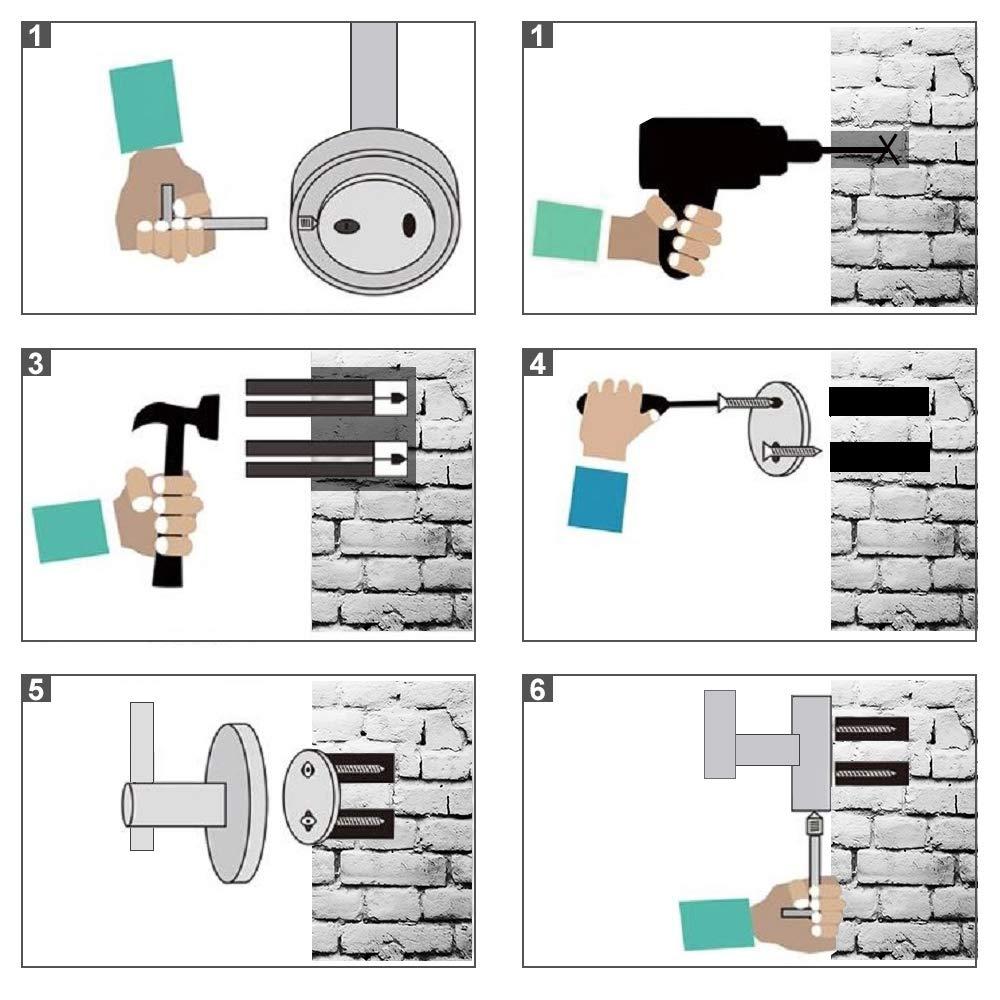 Room Office Kitchen OMID Wall Hooks Self Adhesive Hooks Stainless Steel Towel Coat Hooks Heavy Duty Bathroom Hook No Drill No Screw 4-Pack Waterproof for Bathroom