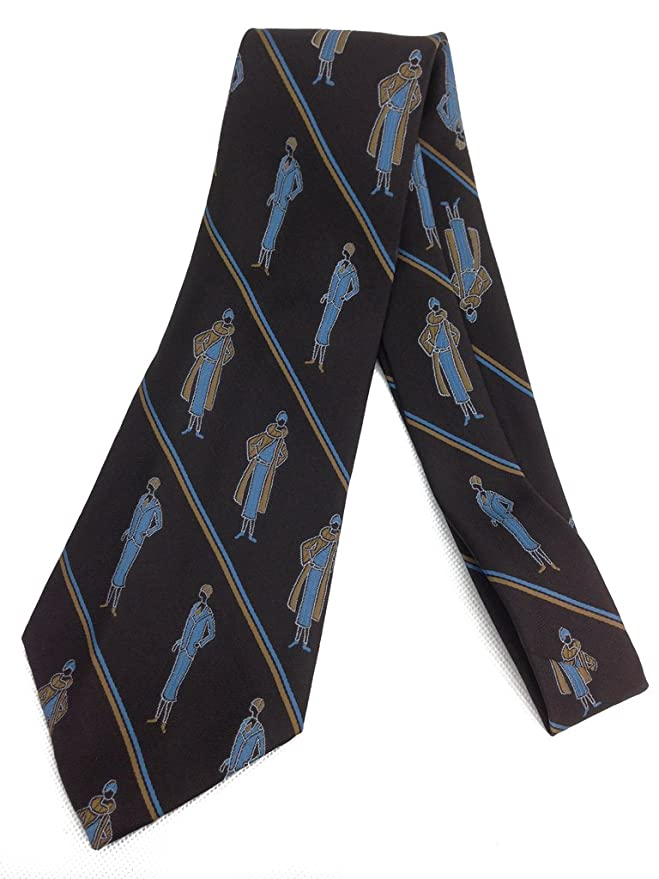 New 1920s Mens Ties & Bow Ties Dapper Flapper Tie - Vintage Jacquard Weave Wide Kipper Necktie - Brown Blue $23.99 AT vintagedancer.com