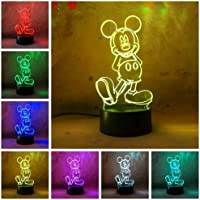 Cute Cartoon Mickey Mouse 3D Night Light LED 7 Color Illusion Table Lamp Birthday Child Kids Baby Gifts Christmas Xmas Birthday