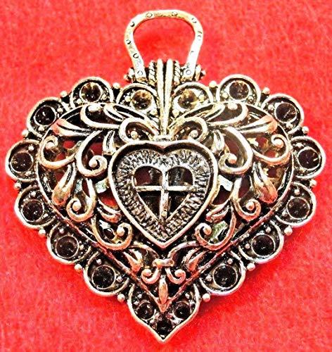 (2Pcs. Tibetan Silver Heart Huge Pendants Beautiful !! H37 Crafting Key Chain Bracelet Necklace Jewelry Accessories Pendants)