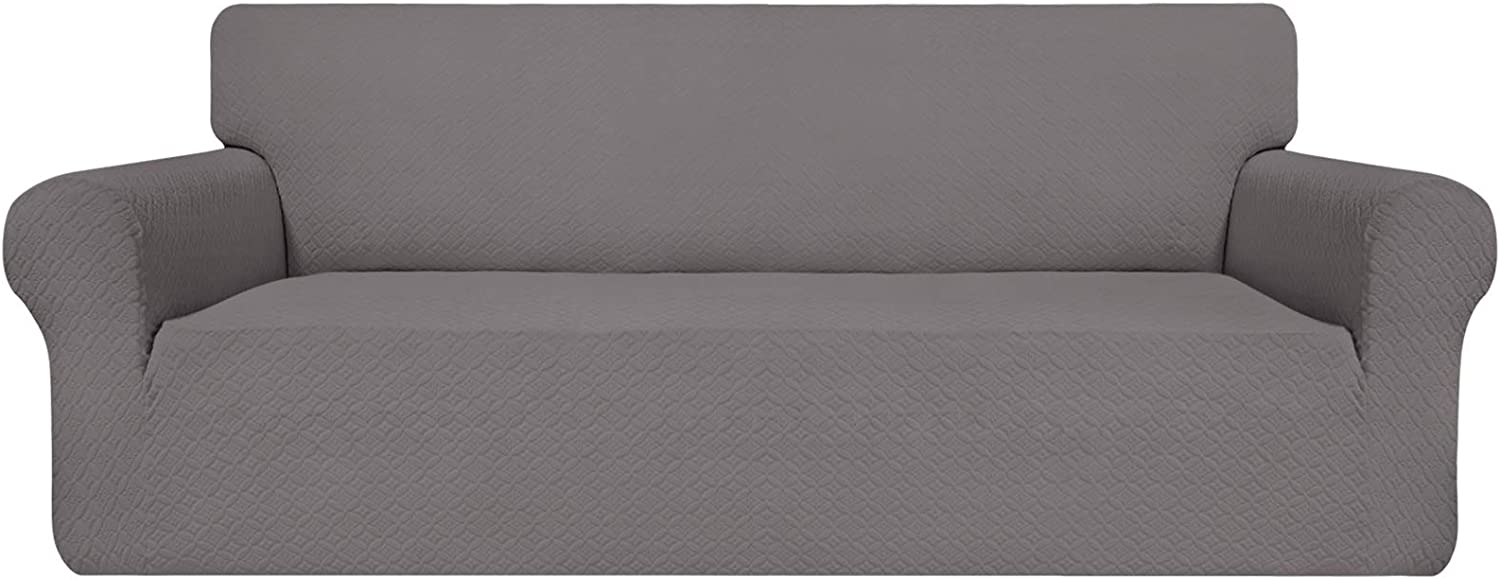 Easy-Going Couch Cover, Stretch Sofa Slipcover, Soft Jacquard Sofa Cover, Non-Slip Slipcovers with Elastic Bottom, Furniture Protector for Kids, Pets, Dogs, Cats ( Sofa, Light Gray)