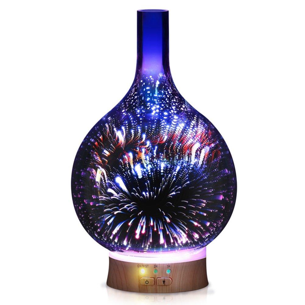 Luftbefeuchter Heizen & Kühlen GX&XD 3D Glas klar Luftreiniger Kreativ Romantisch Aromatherapie-diffusor 6 Farbe LED-leuchten ändern Luftbefeuchter Dekorative Diffusor aromatherapie Nachtlicht-A