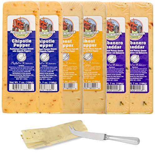 Farmer's Market (Set of 6) Gourmet Spicy Wisconsin Cheese Blocks For Gift Basket, Fondue Cheese Bricks