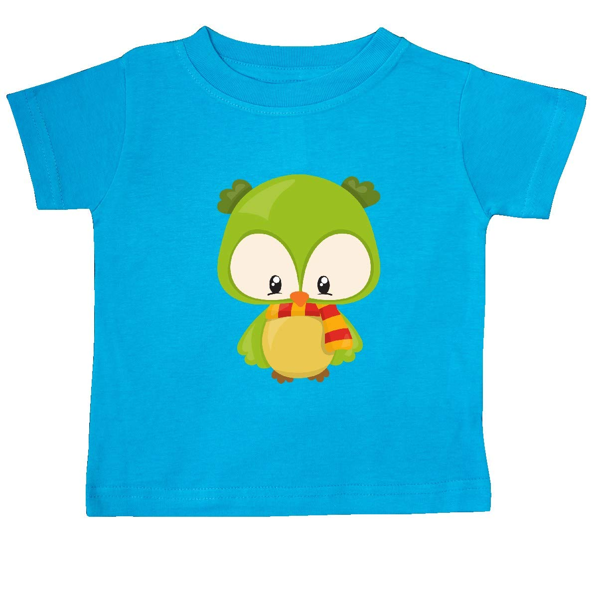 inktastic Cute Owl Wearing a Striped Scarf Green Owl Baby T-Shirt