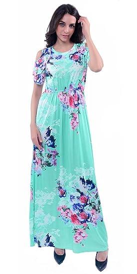 de81f756c18ab8 TOONIES Women s Summer Floral Print Maxi Dress Cold Shoulder Sexy Casual  Party Dresses (Light Blue