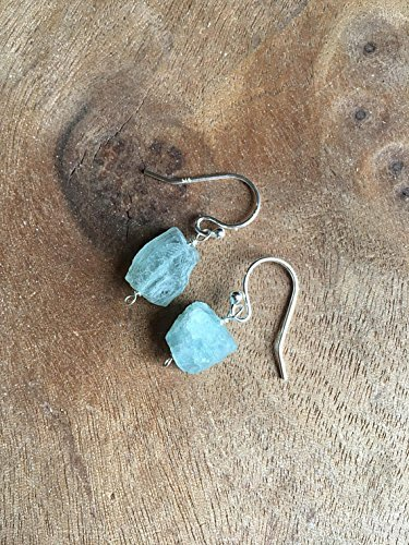 Raw Aquamarine Earrings Sterling Silver