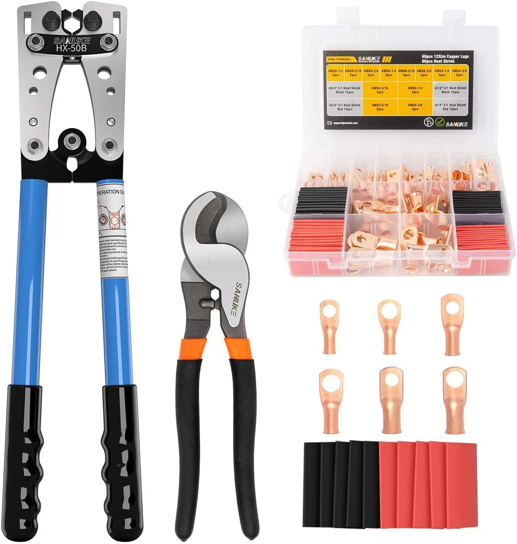 72Pcs AWG 8 6 4 2 Heavy Duty Battery Copper Lugs Cable Wire and 72PCS 3:1 Dual Wall Adhesive Heat Shrink Tubing Assortment Bundle Sanuke HX-50B Battery Crimping Tool