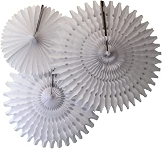 product image for Set of 3 Honeycomb Tissue Party Fans, White (13, 18, 21 Inch)