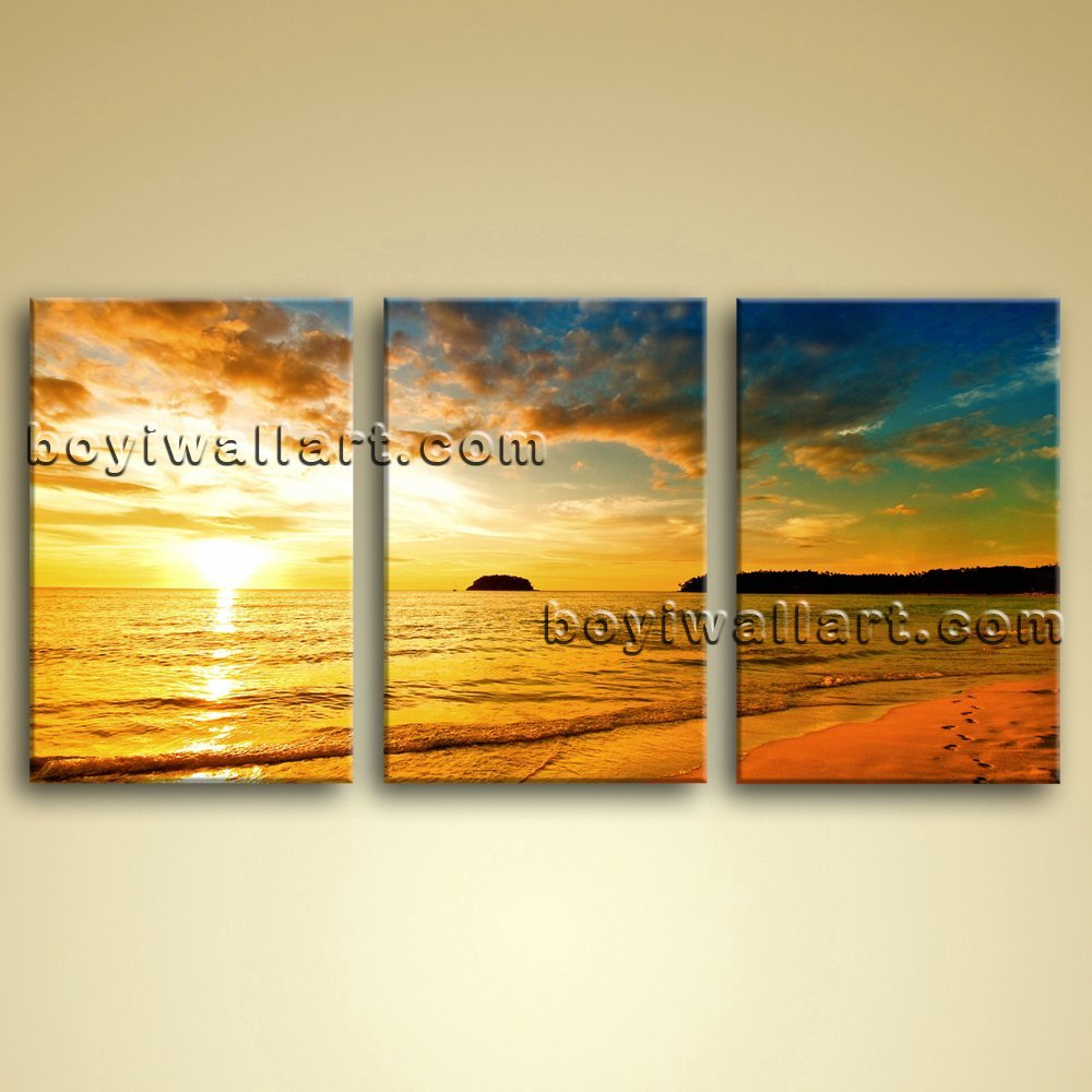 Amazon.com: Large Hawaii Beach Sunset Canvas Art Painting Living ...