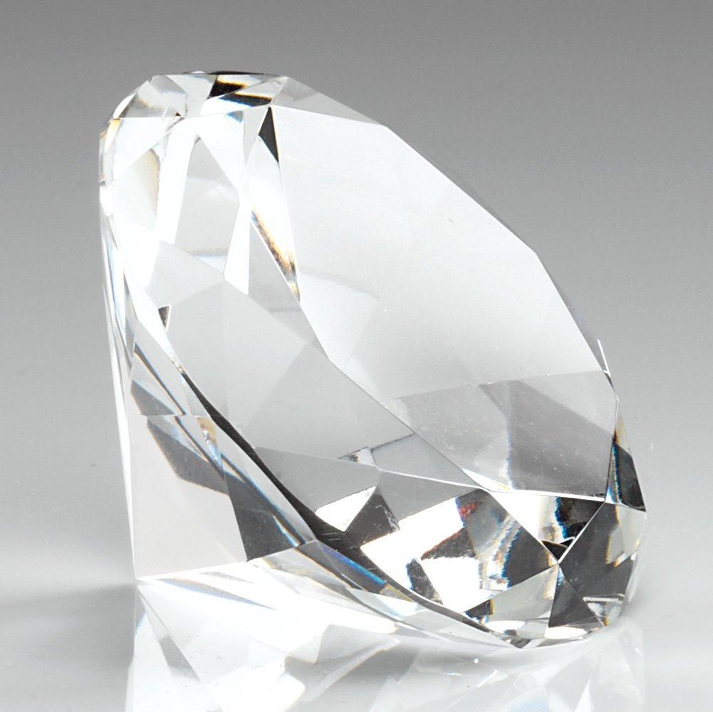 100mm Plain Clear Glass Diamond Shapped Paperweight Complete with Gift Box DIA100 by Trophy