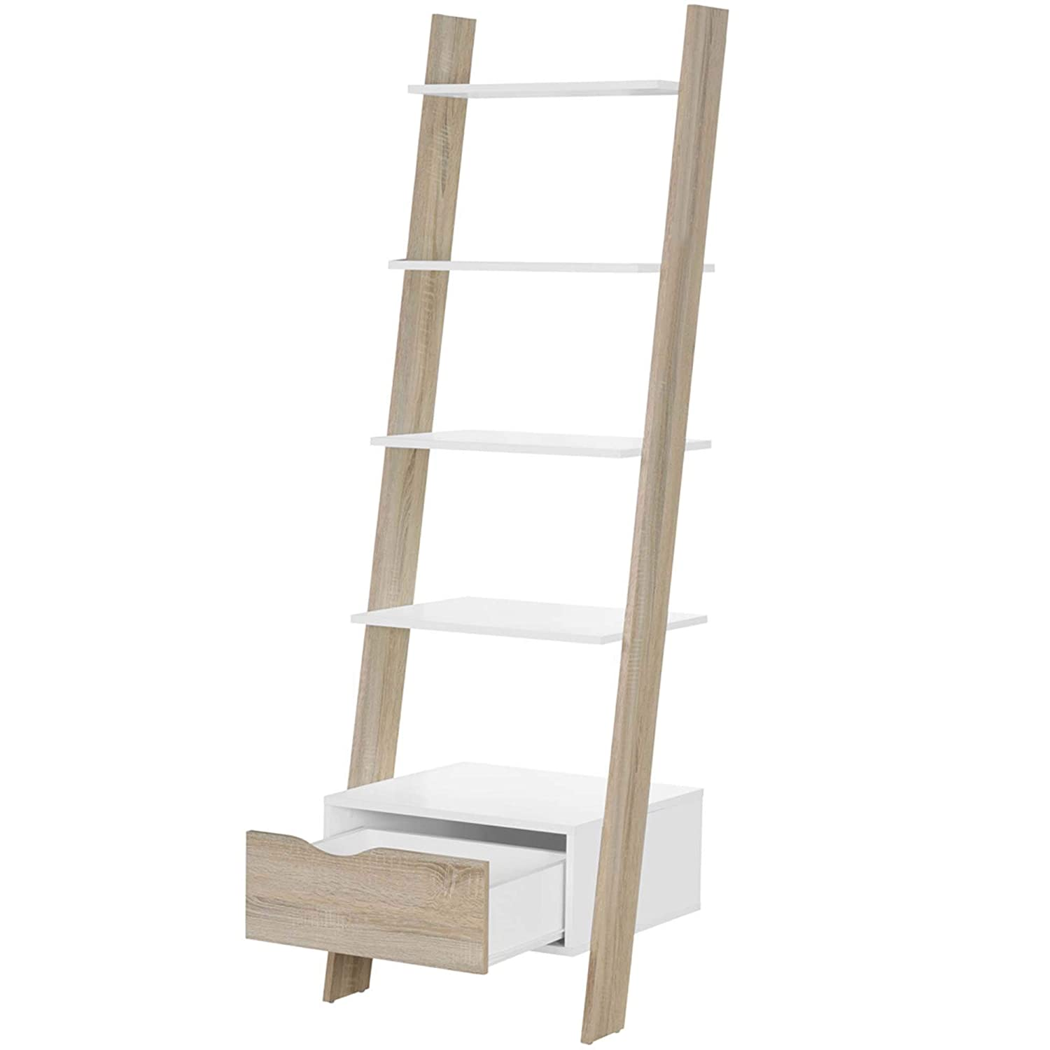 VonHaus Ladder Bookcase Scandinavian Nordic Style - White and Light Oak Effect - Freestanding Open Storage Organiser Bookshelf Unit - Modern, Contemporary Lounge, Dining or Living Room Furniture Domu Brands
