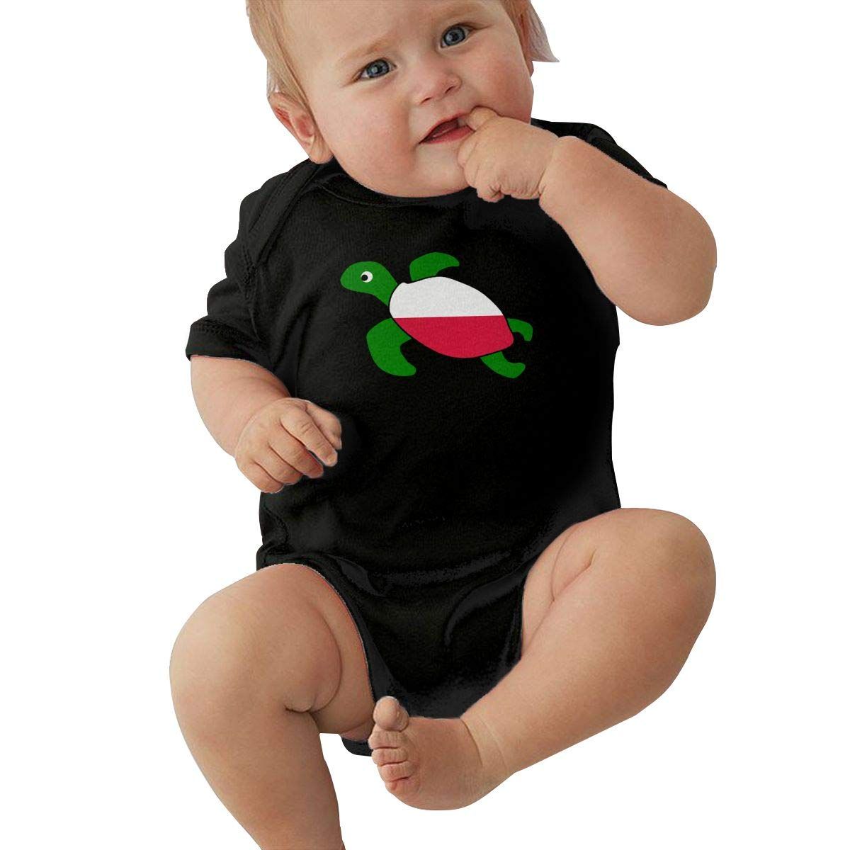 Suit 6-24 Months Baby Girls Sea Turtle Poland Flag Short Sleeve Climbing Clothes Bodysuits