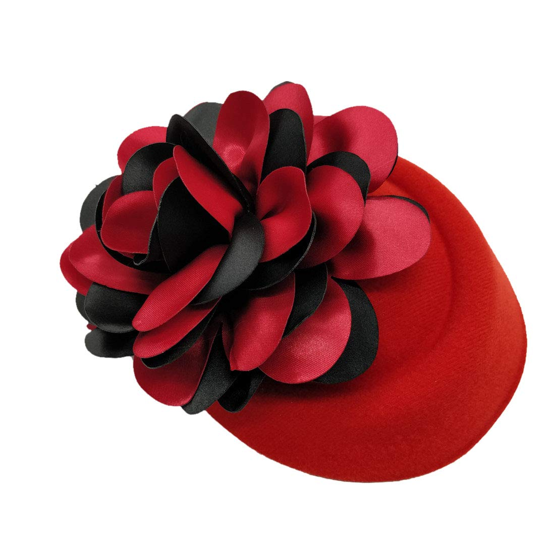 Ahugehome Fascinator Hair Clip Headband Pillbox Hat Flower Wedding Cocktail Tea Party (C Black red Flower R)