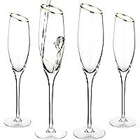 MyGift 6 oz Champagne Flute Glasses with Gold-Tone Rim, Set of 4