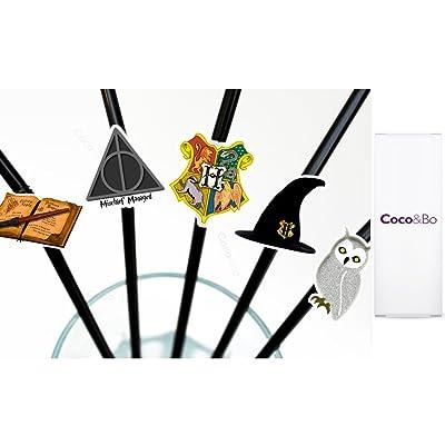 10 accesorios para cupcakes Coco y Bo con pajitas, en diseño de Harry Potter para la decoración en fiestas: Hogar
