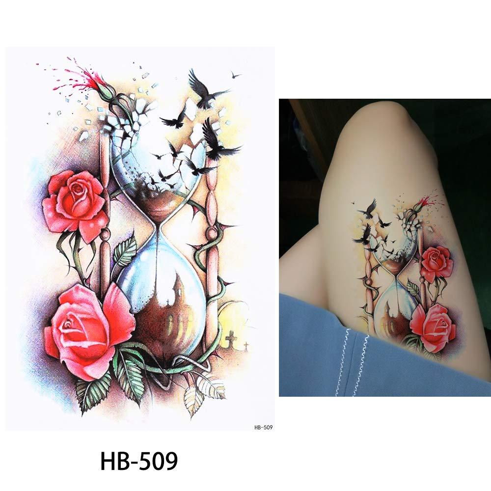 Reloj De Arena de rosas pájaro Tattoo Fake Tattoo una vez Tattoo ...