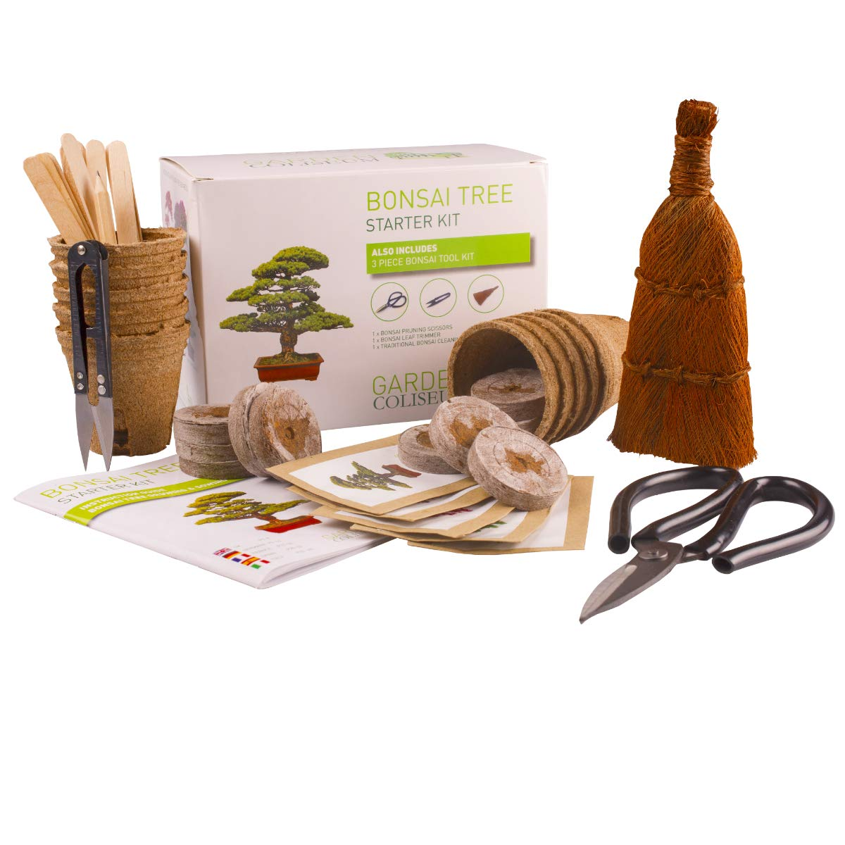 Bonsai Tree KIT - Grow Your OWN Bonsai Trees from Seeds - Gardening Gift Set - Premium Quality KIT - Big Value Pack, Seed Germination Starter Kit with 6 Seed Species. Includes 3 Superior Bonzai Tools