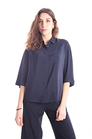 02063e77c465a4 Aspesi Shirt in Silk Dark Blue