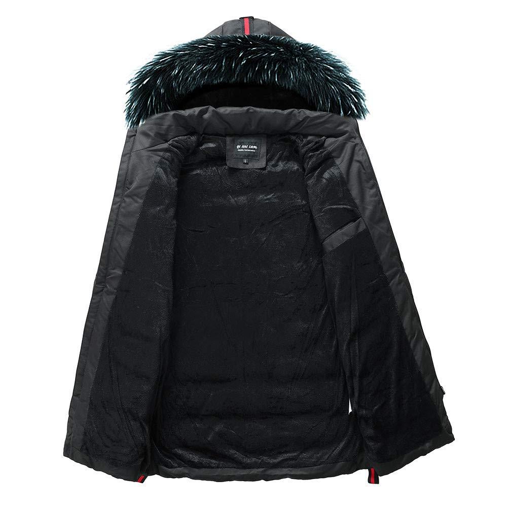 MODOQO Mens Lightweight Puffer Padded Down Coat with Fur Hood Zipper Jacket