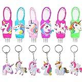 6PCS Unicorn Kids Hand Sanitizer Holder Flip Cap Reusable Portable Empty Travel Size Bottle, 6PCS Unicorn Keychains…