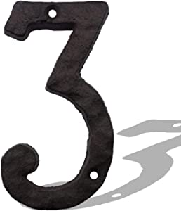 6 Inch House Numbers, Cast Iron Metal Home Address Number, Heavy Duty & Sturdy, Unique Hammered Look, Number 3