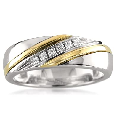 Mens Wedding Bands With Diamonds.La4ve Diamonds 14k Two Tone White Yellow Gold Princess Cut Diamond Men S Wedding Band Ring 1 5 Cttw Hi I1 I2