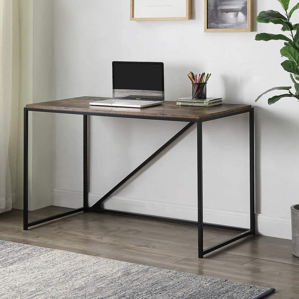 joupugi Writing Computer Desk, 46 Inch Modern Simple Study Desk Industrial Style Folding Laptop Table for Home Office