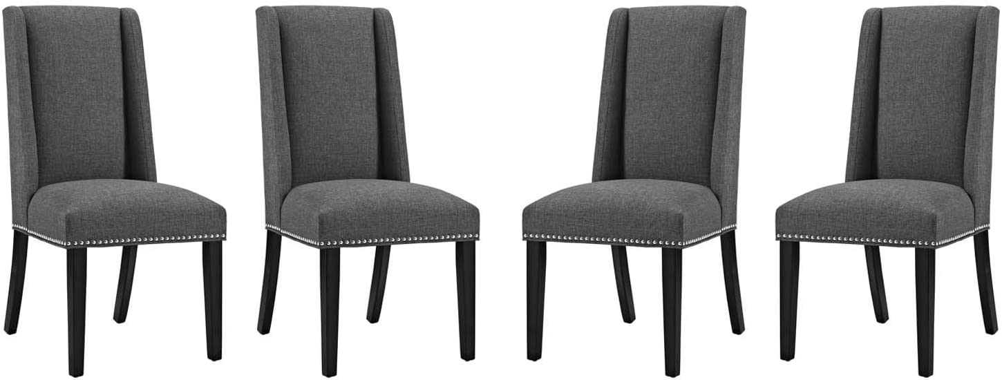 Modway Baron Modern Tall Back Wood Upholstered Fabric Four Dining Chairs in Gray