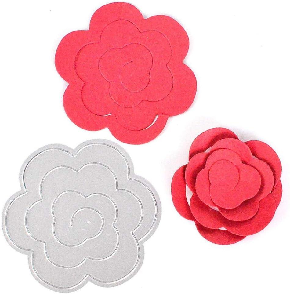Rosa Flor Corta Metal De Acero Carbono Troqueles De Corte DIY De Scrapbooking DIY De Grabaci/ón En Relieve De Papel del Rollo Tarjeta Flor