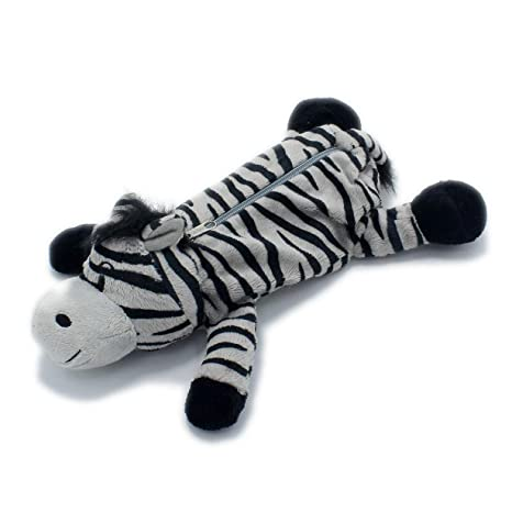 Wild Animals Leopard Tiger Lion Zebra Stuffed Toy Style Pen Bag Pencil Pouch Office Desk Accessories Organizor Zebra