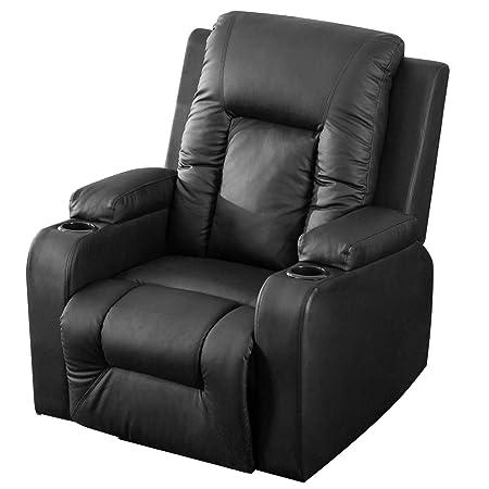 Harper Bright Designs Power Lift Chair PU Leather Power Recline and Lift Chair Black-B